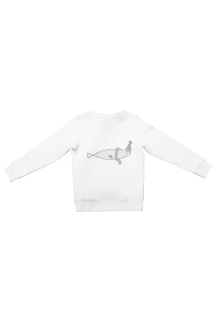 sweatshirt fish made from organic cotton and recycled polyester for children