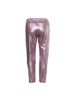 pearl pink faux leather trousers